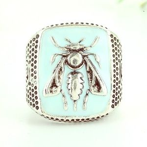 Light Blue and Silver Bee Ring